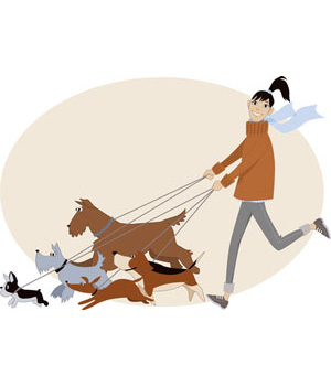 Clip Art of Dog Walker with Five Dogs-Clip Art of Dog Walker with Five Dogs-5