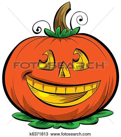 Clip Art of Halloween Pumpkin Scarecrow Cartoon k14147657 - Search Clipart, Illustration Posters, Drawings, and EPS Vector Graphics Images - k14147657.eps