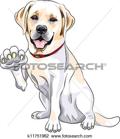 Clip Art of labrador retriever dog cartoon for coloring