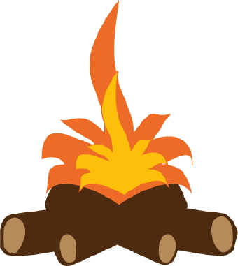 Clip Art Of Logs And Firewood Under Bright Orange And Yellow Flames