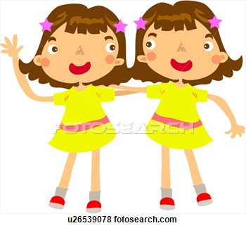 Clip Art Of One Piece Sister Hairpin Putting Arms Twins Girl