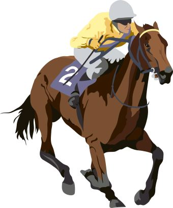Clip Art Of Racing Thoroughbred Horse Ridden By Jockey In Yellow Silks