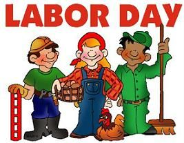 Clip Art Of Workers Standing Below Text -Clip art of workers standing below text that reads Labor Day-1
