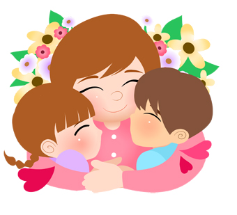 Clip Art Of Young Children Sharing A Hug With Mommy For Mothers Day