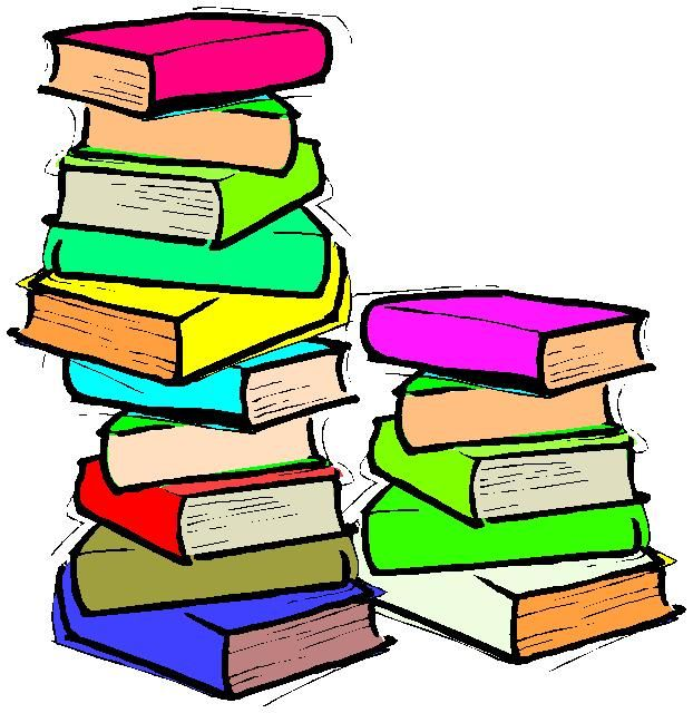 Clip art on stack of books reading books and book