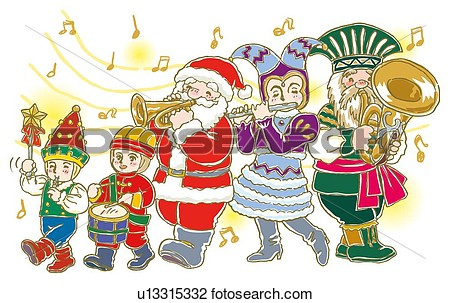 Clip Art - Painting of parade - Christmas Parade Clip Art