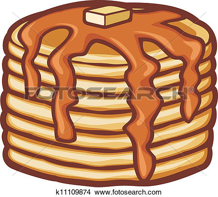 Clip Art. pancakes with butter and syrup