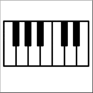 Clip Art: Piano Keys Bu0026amp;W .