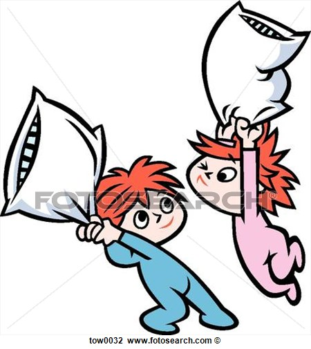 Clip Art Pillow Fight Fotosearch Search Clipart Illustration