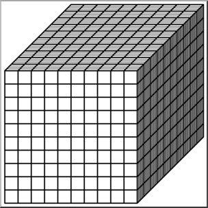 Clip Art: Place Value Blocks Bu0026amp;W 1000 - preview 1