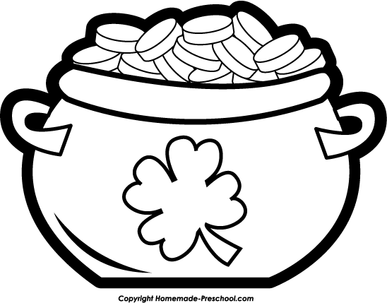 Clip Art Pot of Gold Coloring .