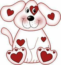 Clip Art Puppy Valentine .-Clip Art Puppy Valentine .-3