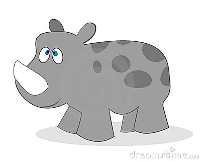 Clip Art Rhino Isolated Object Over White Background