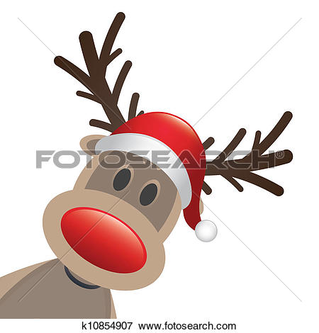 Clip Art. rudolph reindeer red nose and hat