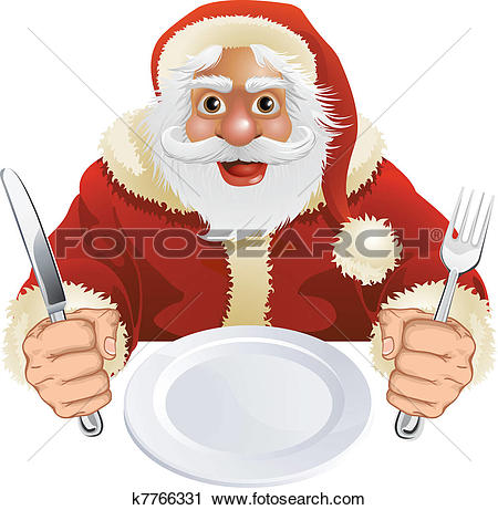 Clip Art. Santa Claus seated for Christmas Dinner