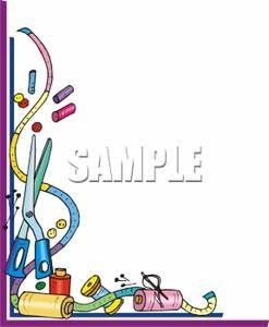 Clip Art Sewing Border | Measuring Tape and Assorted Sewing Supplies - Royalty Free Clipart .