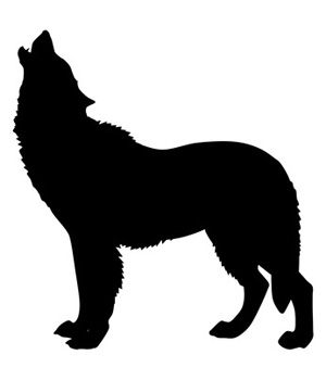 Clip art silhouette of wolf, dog howling