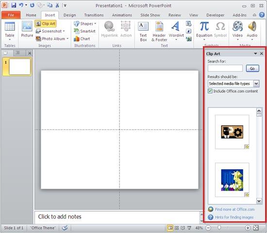 Clip Art task pane in .