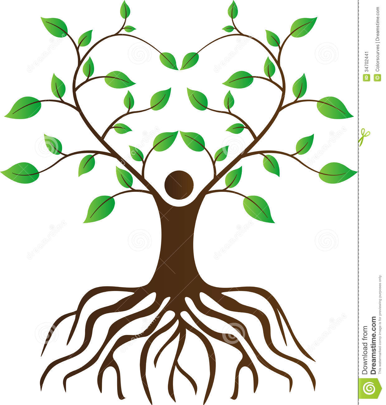 Clip Art Tree With Roots Clip - Tree Roots Clipart