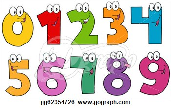 Clip Art Vector Funny Numbers Cartoon Mascot Characters Stock Eps
