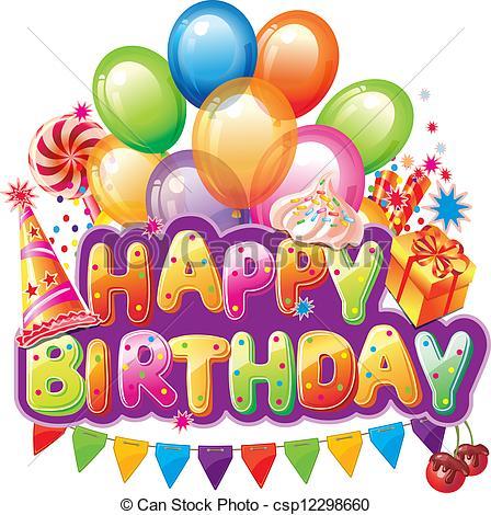 Clip Art Vector Of Happy Birthday Text W-Clip Art Vector Of Happy Birthday Text With Party Element Csp12298660-1