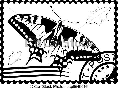 Clip Art Vector Of Postage Stamp From Swallowtail Postage Stamp With