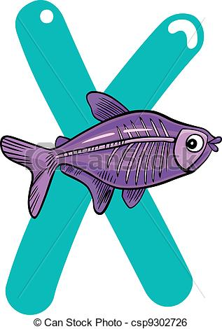 Clip Art Vector Of X For X Ray Fish Cartoon Illustration Of X