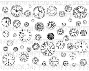 CLIP ART Victorian Clip Art Clock Faces -CLIP ART Victorian Clip Art Clock Faces Digital Clip Art Illustrations Digital Collage Sheet Vintage Clip Art Steampunk Clip Art 0186-3
