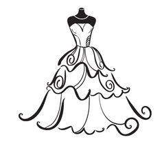 Clip Art. Wedding Gown .-Clip Art. Wedding Gown .-0