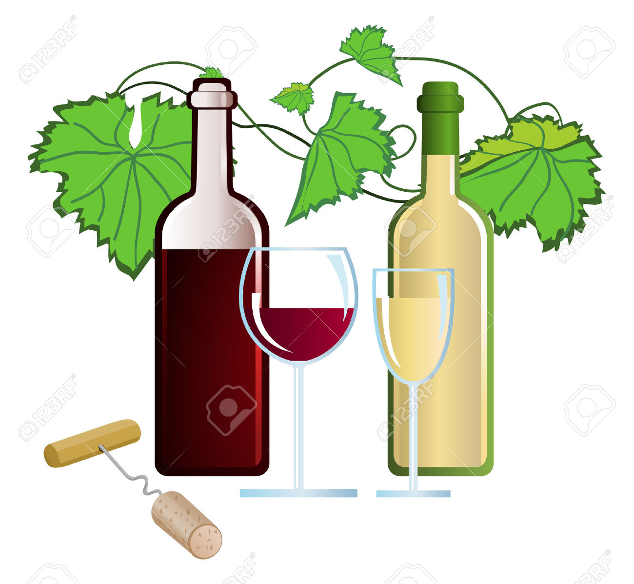 Clip-arts of wine and corkscrew Stock Vector - 5288191