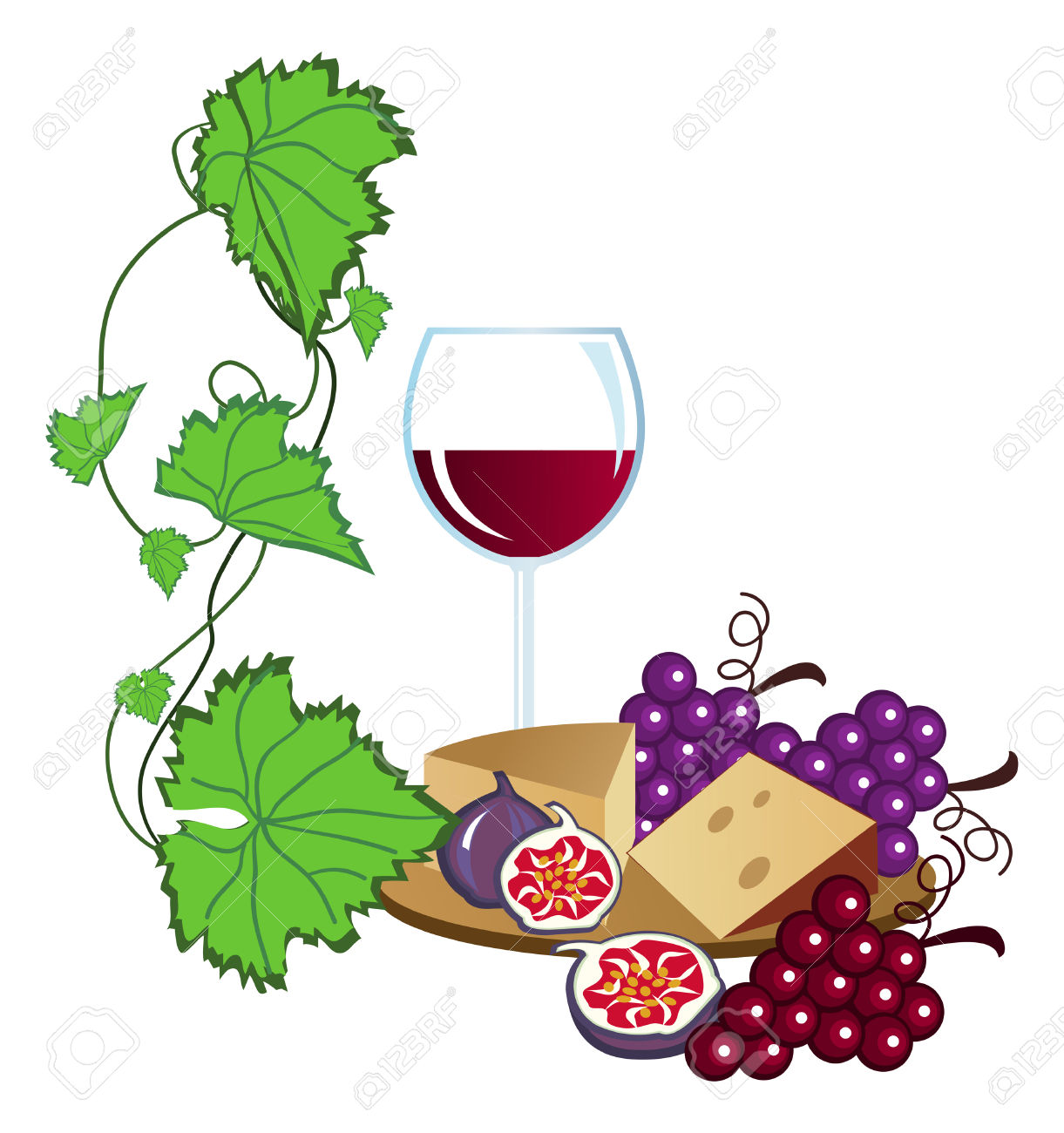Clip-arts Of Wine, Fruits And Cheese Sto-Clip-arts of wine, fruits and cheese Stock Vector - 5275769-3