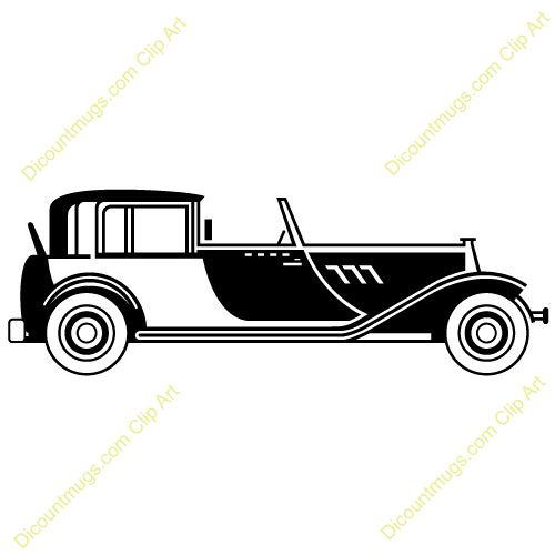 Clipart 10500 V-46 - 1920s Classic Car mugs, t-shirts, picture