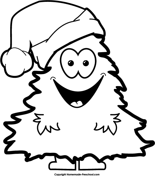 clipart christmas tree black white