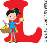 Clipart Alphabet Girl With A Basket Of L-Clipart Alphabet Girl With A Basket Of Lemons Over Letter L Royalty Free Vector Illustration-3