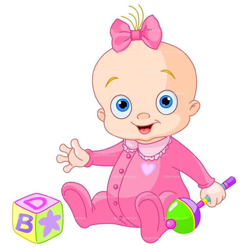 Clipart Baby Girl With Toys Royalty Free Vector Design