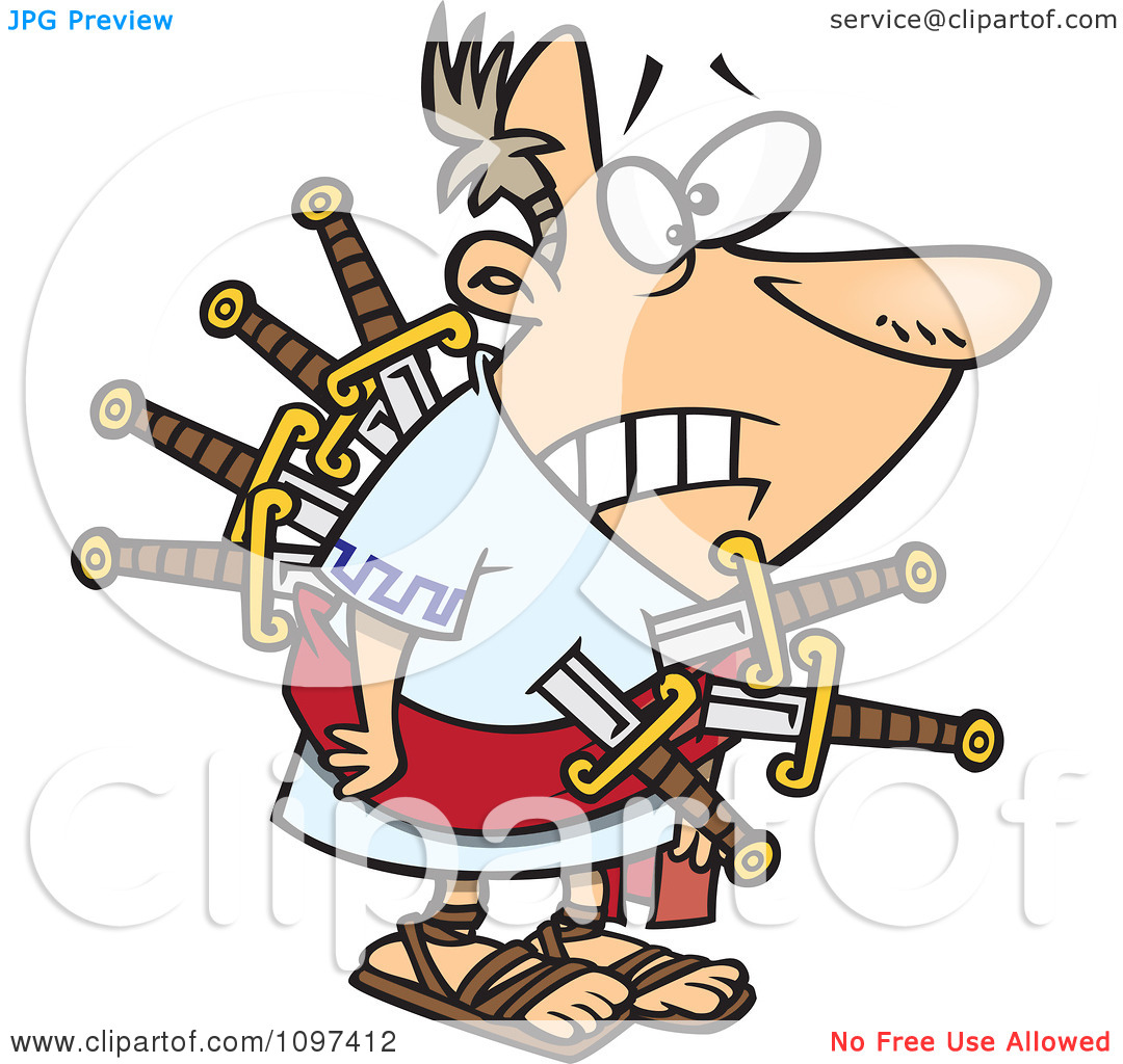 Clipart Betrayed Julius Caesar Stabbed With Swords On The Ides Of March - Royalty Free Vector Illustration by Ron Leishman