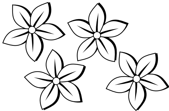 Clipart Black And White Four Flowers Flora 80 Black White Line Art