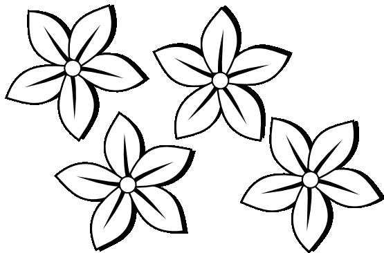 Clipart Black And White Four Flowers Flo-Clipart Black And White Four Flowers Flora 80 Black White Line Art-7