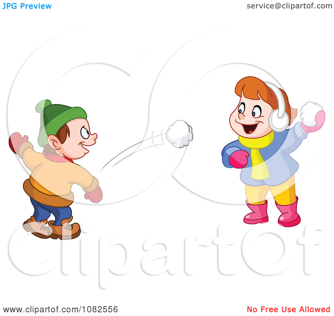 Clipart Boy And Girl Having A Snowball Fight - Royalty Free Vector Illustration by yayayoyo
