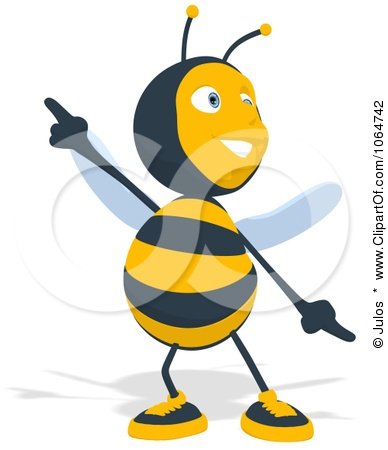 Clipart Cartoon Bee Dancing - Royalty Fr-Clipart Cartoon Bee Dancing - Royalty Free CGI Illustration by Julos-2