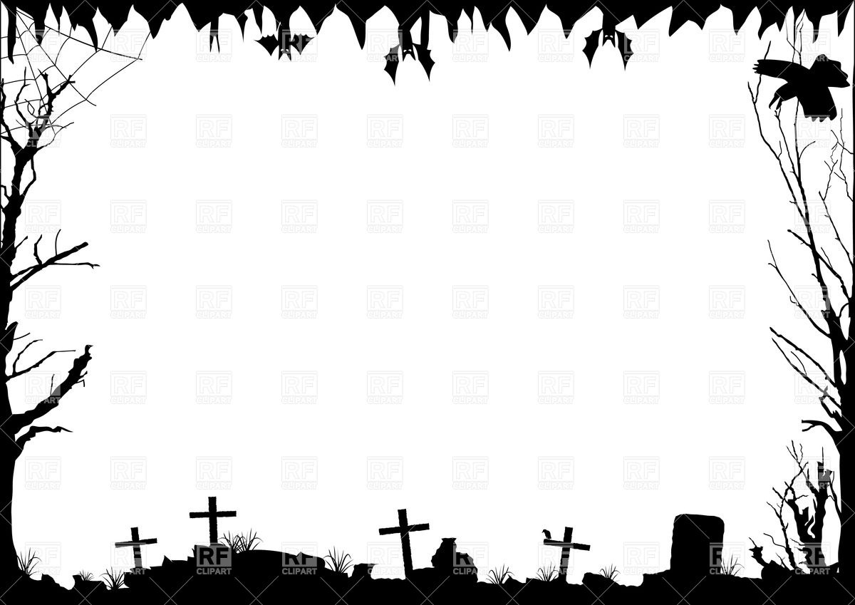 Clipart Catalog Borders And Frames Halloween Border With Graves