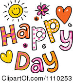 Clipart Colorful Sketched Happy Day Text-Clipart Colorful Sketched Happy Day Text Royalty Free Vector Illustration-2