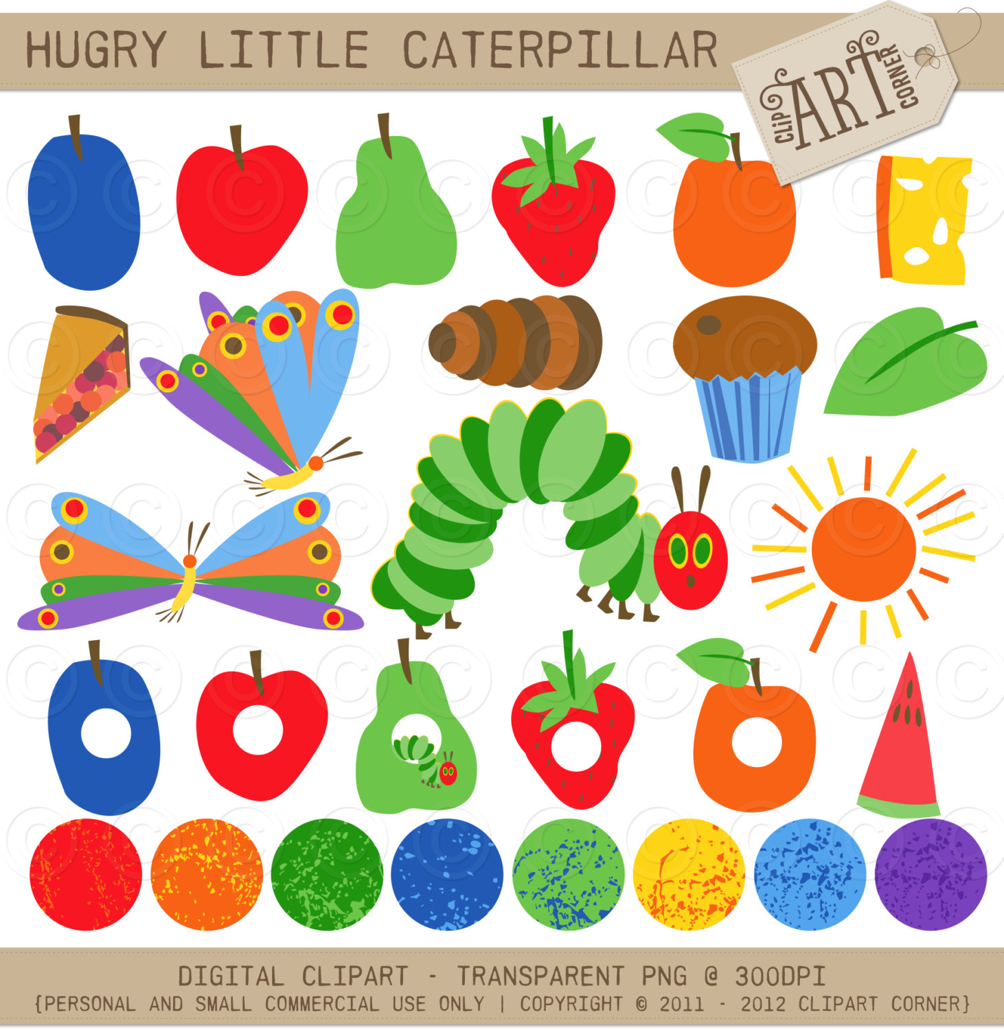 Clipart Combo The Happy Cater - Hungry Caterpillar Clipart