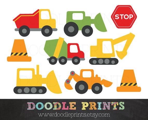 Clipart Construction Trucks - Constructi-Clipart Construction Trucks - Construction Digital Clip Art Design - Trucks, Stop Signs, Garbage-1
