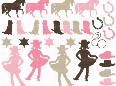 Clipart - Cowgirl Silhouettes