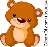 Clipart Cute Bear Cub Sitting Upright Royalty Free Vector Illustration