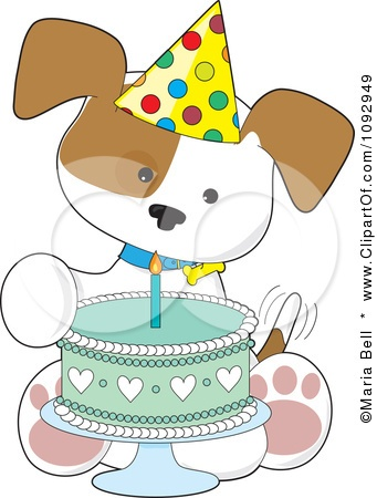 Clipart Cute Birthday Puppy With A Party-Clipart Cute Birthday Puppy With A Party Hat And Cake - Royalty Free Vector Illustration by-3