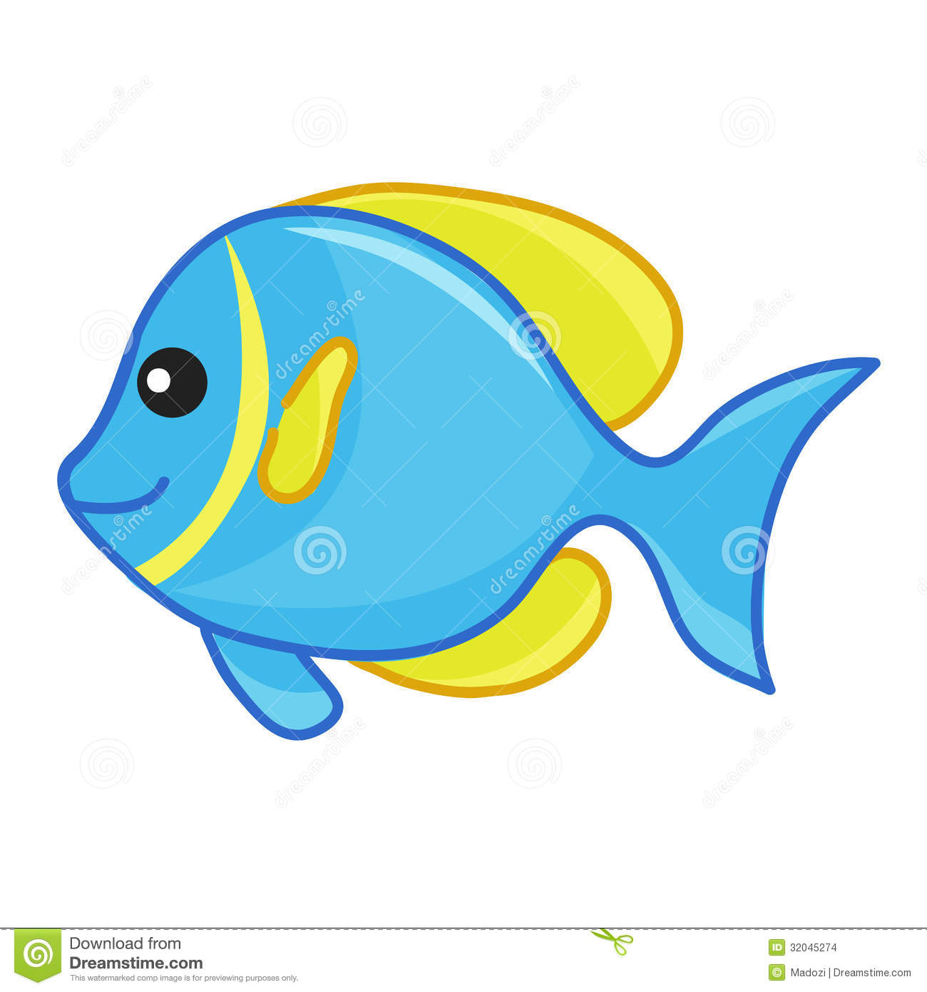 Clipart Cute Fish Blue And Yellow Cute Fish