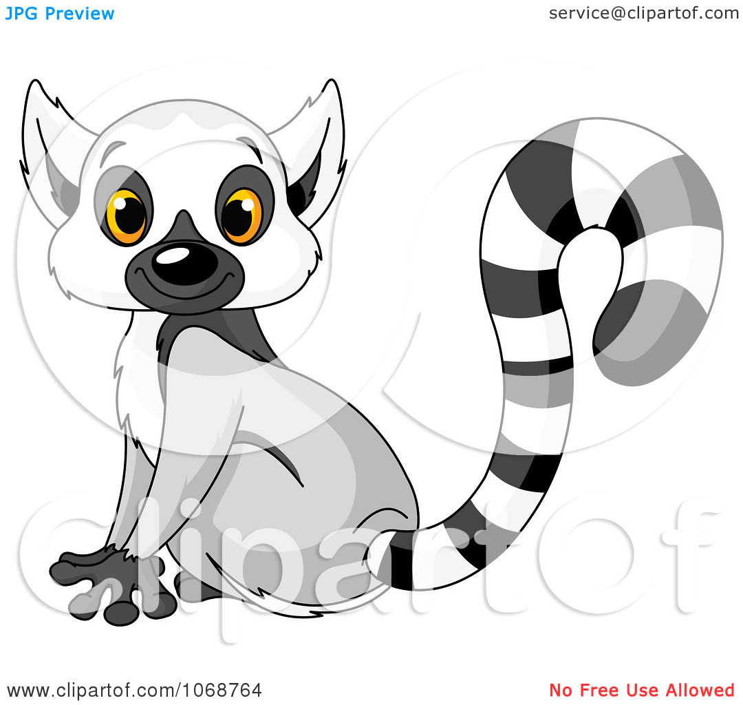Clipart Cute Lemur Sitting .