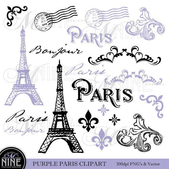 Clipart Digital Vintage Paris Printable Clipart Pink Paris Paris